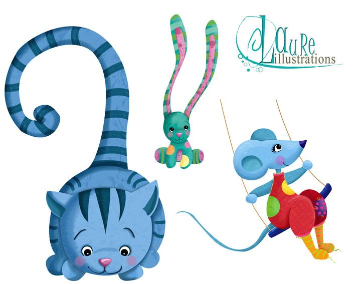 illustration pour enfants, chats, lapin, souris