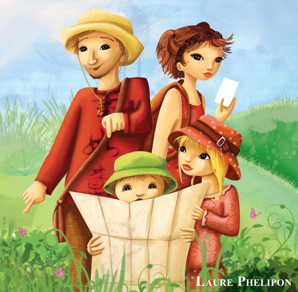 Illustration d'une famille d'aventurier en couleur