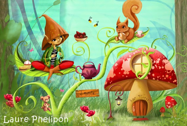 illustration lutin en pleine nature