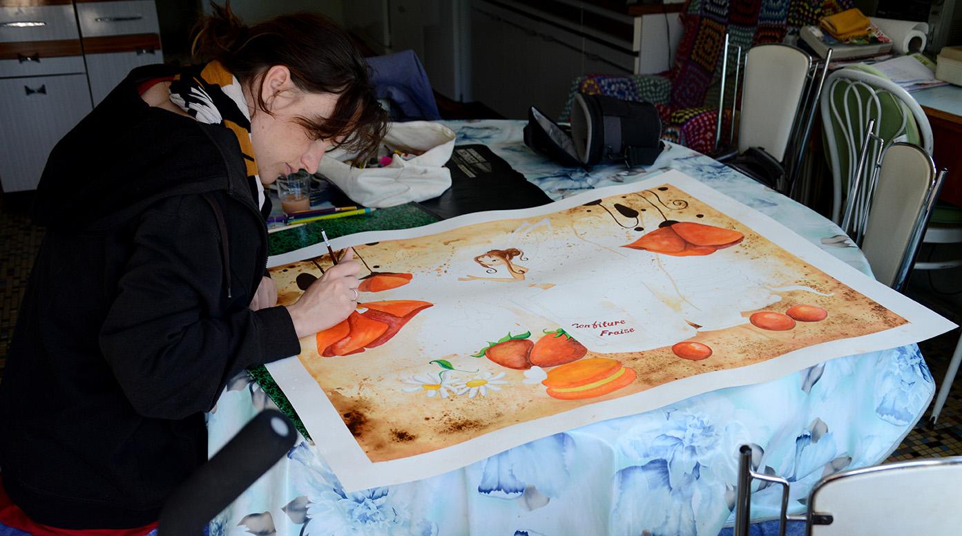 Une aquarelle avec une f e dans une cuisine sucr e ptit for Chambre technique