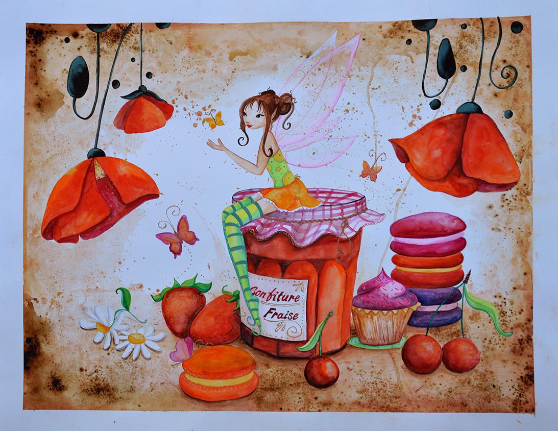 Une aquarelle avec une fée dans une cuisine sucrée