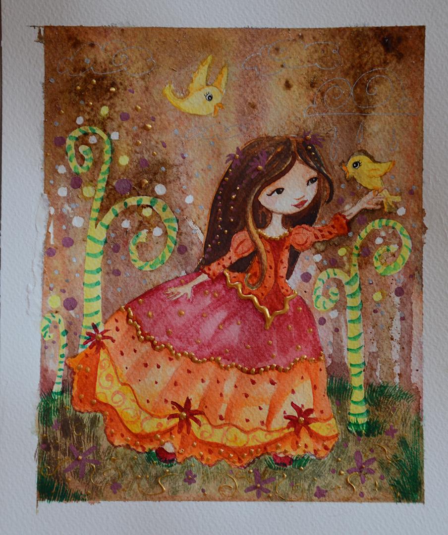 illustration de princesse à l'aquarelle