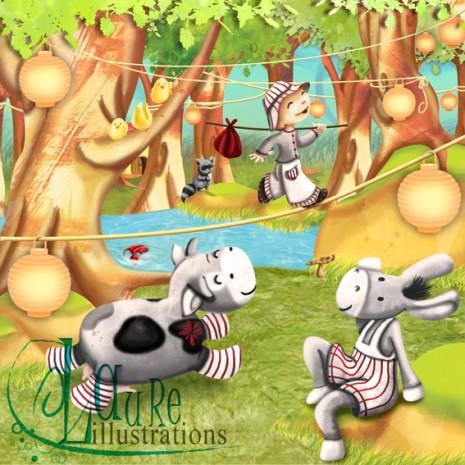 Une illustration d'un petit funambule en pleine campagne !