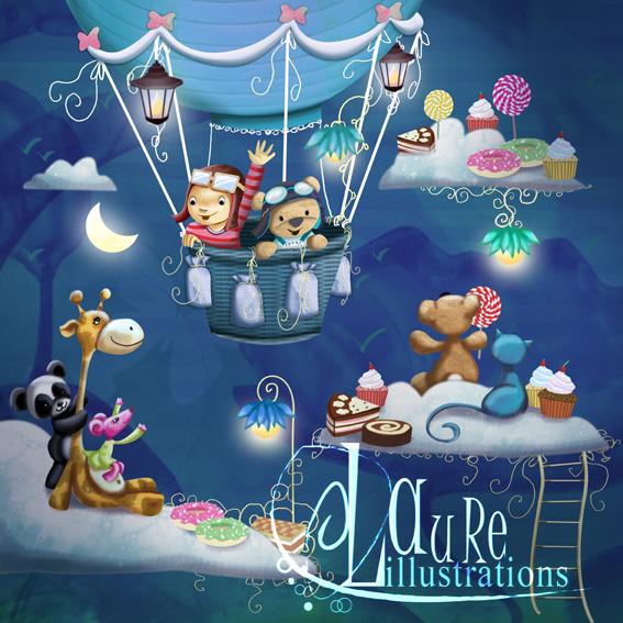 illustration petit garçon avec son doudou en montgolfière au pays des gourmandises de nuit