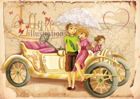 Faire-part de mariage pour des amoureux de vieilles voitures
