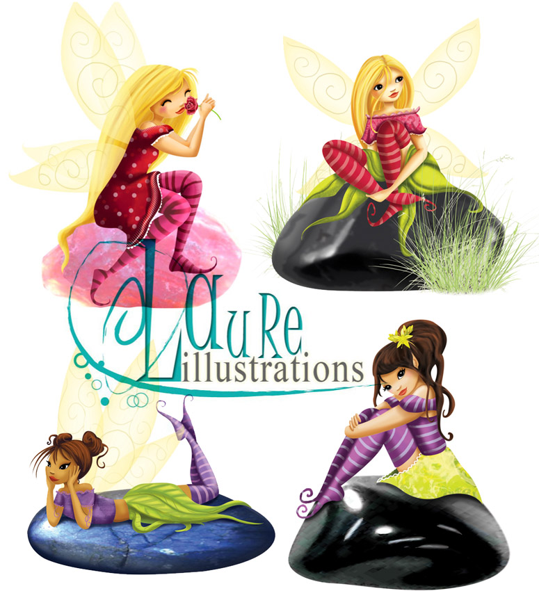 mes illustrations de fées sur des pierres précieuses