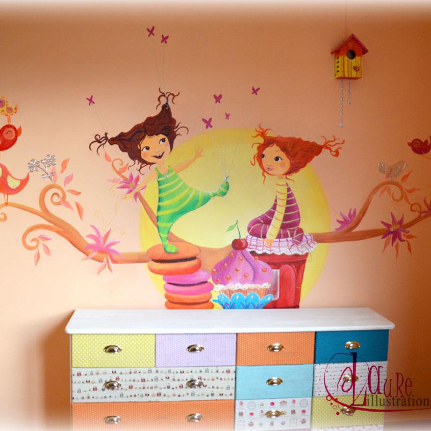 fresque gourmande pour une chambre de petite fille. Black Bedroom Furniture Sets. Home Design Ideas