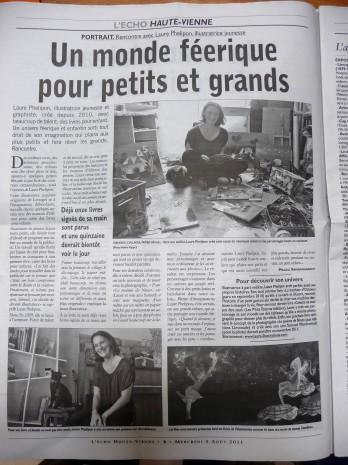 article dans le journal de l'illustratrice laure phelipon