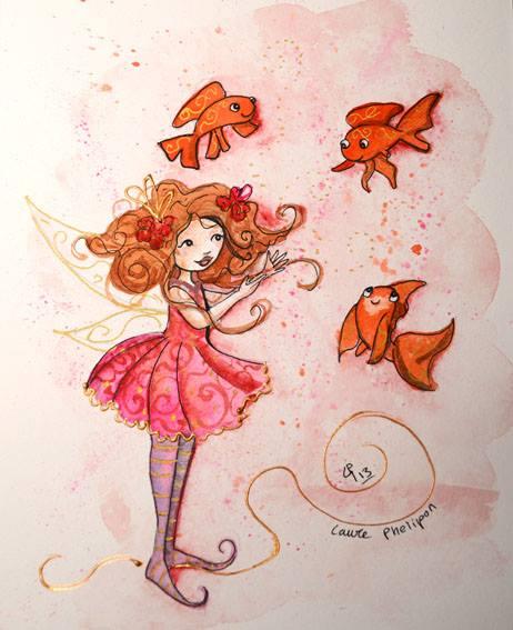 Fée aux poissons, une illustration à l'aquarelle
