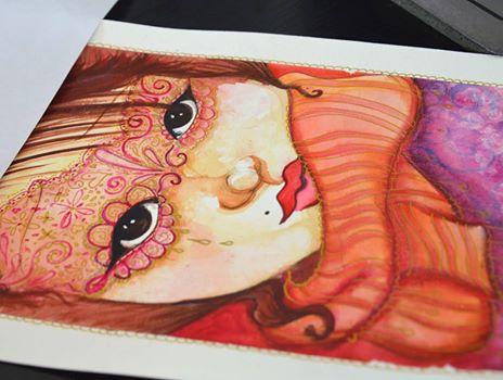portrait de femme à l'aquarelle et faire-part de naissance