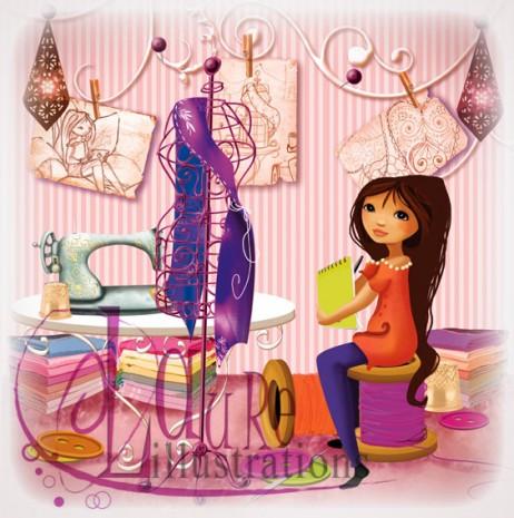 illustration couture et sa petite couturière