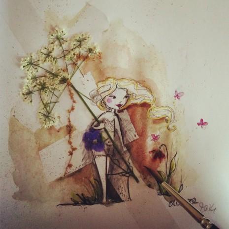 Voici deux nouvelles petites illustrations jeunesse de mes fées à partir de fleurs et de feuilles que j'ai récupéré dans le parc en bas de chez moi