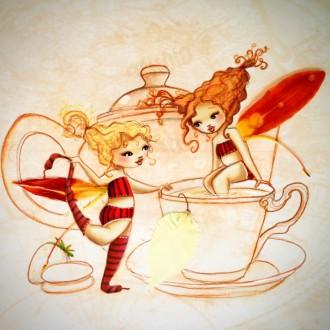 les fées nature à l'heure du thé croquis