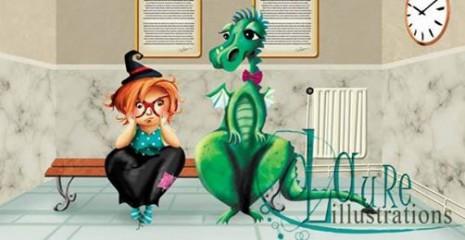 illustration d'une sorcière et un dragon au poste de police