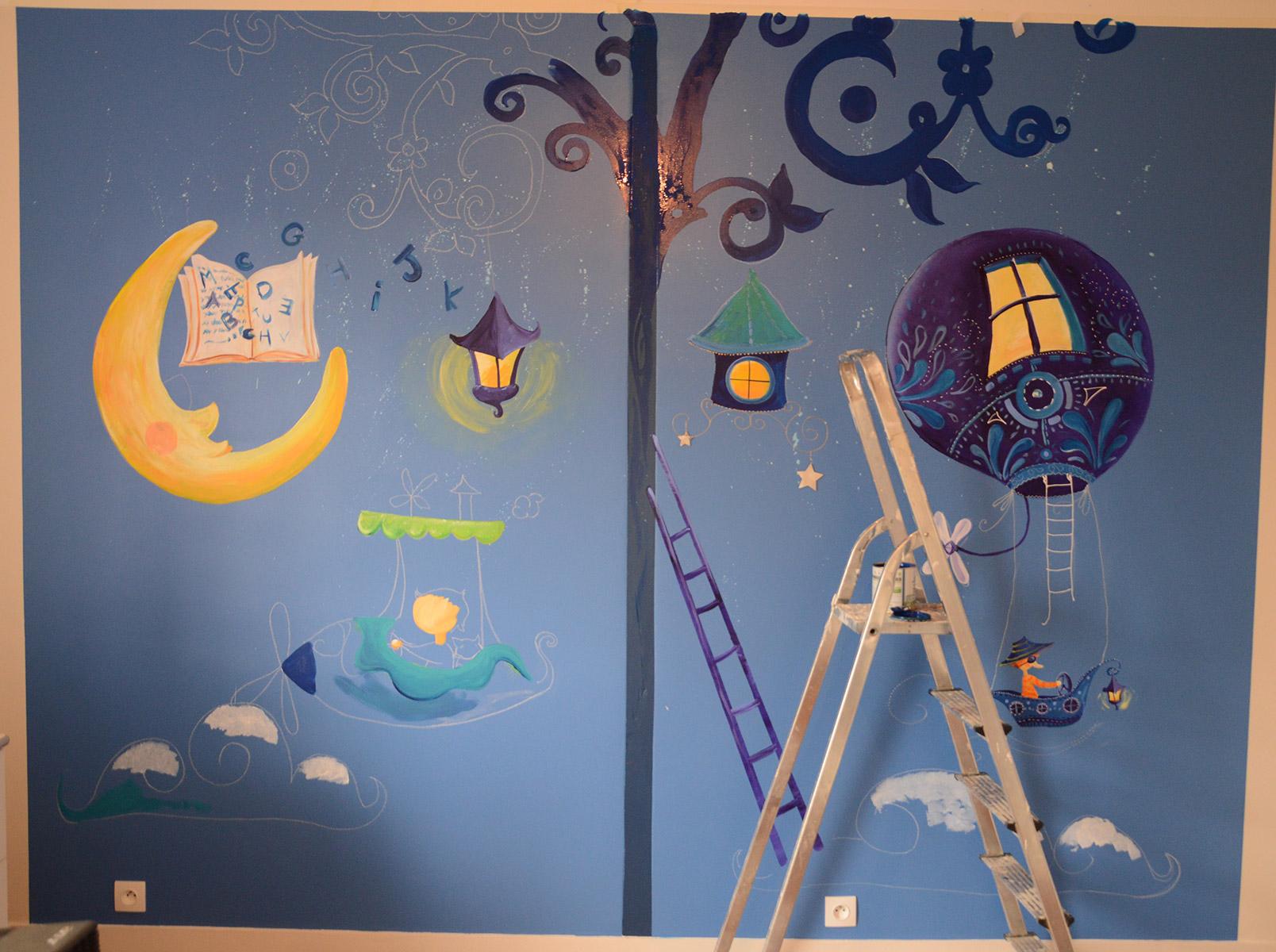 Fresque féerique pour la chambre d'un petit garçon