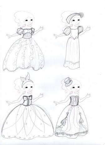 les croquis de mes robes de princesses