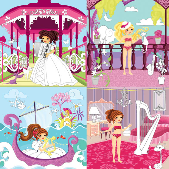 Mes illustrations pour des princesses musiciennes