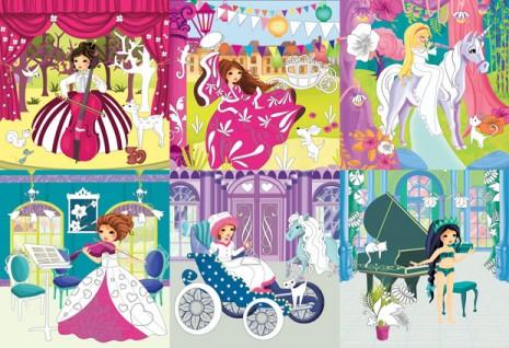 violoncelle et princesses qui jouent des instruments de musique