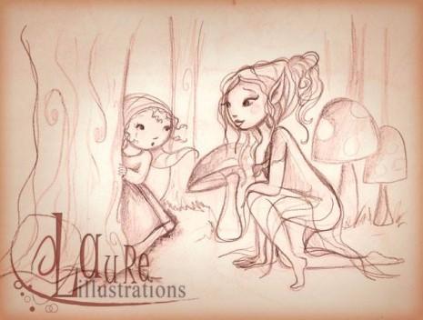 une petite fille apeurée et triste réconfortée par une elfe