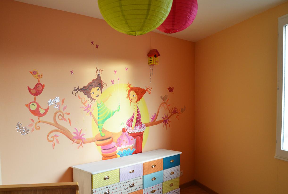 fresque gourmande pour une chambre de petite fille
