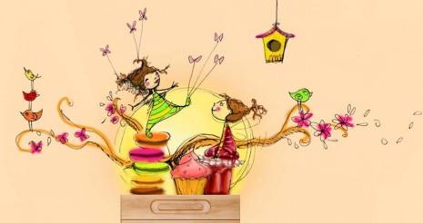 croquis fresque gourmande pour une chambre de petite fille