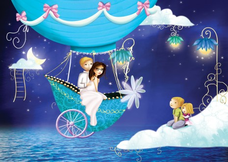 Illustration de faire-part de mariage avec montgolfière par Laure Phelipon