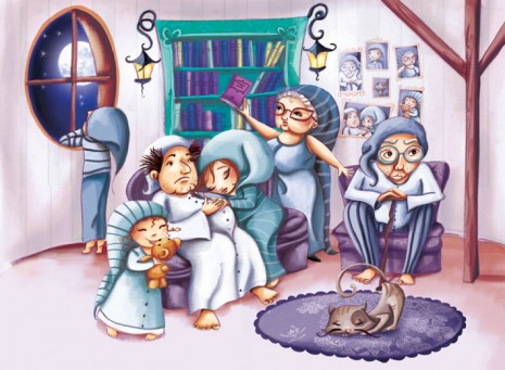 illustration jeunesse de la famille silence