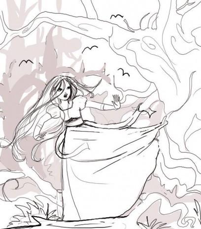 croquis blanche neige qui se sauve dans la forêt