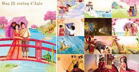 illustrations jeunesse des 12 contes d'asie de Laure Phelipon aux éditions Piccolia