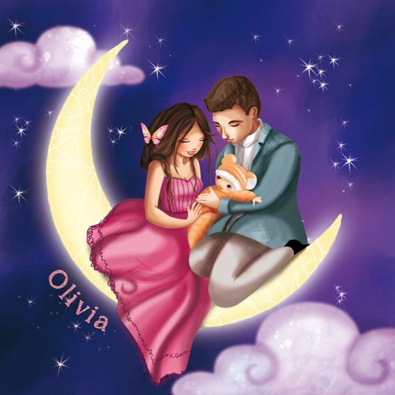 Illustration pour les faire-part de naissance et de mariage
