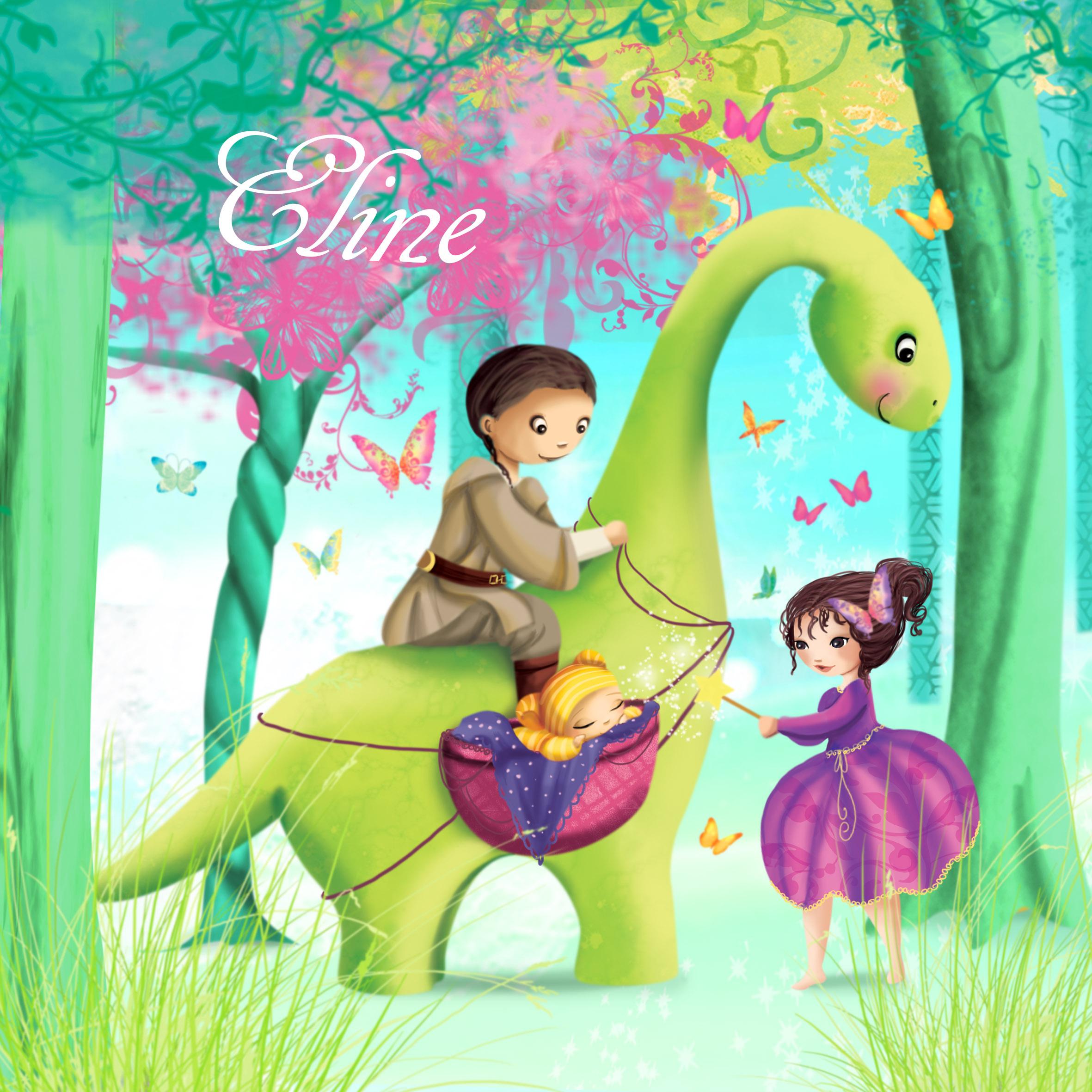 Faire-part de naissance d'une petite princesse avec un dinosaure