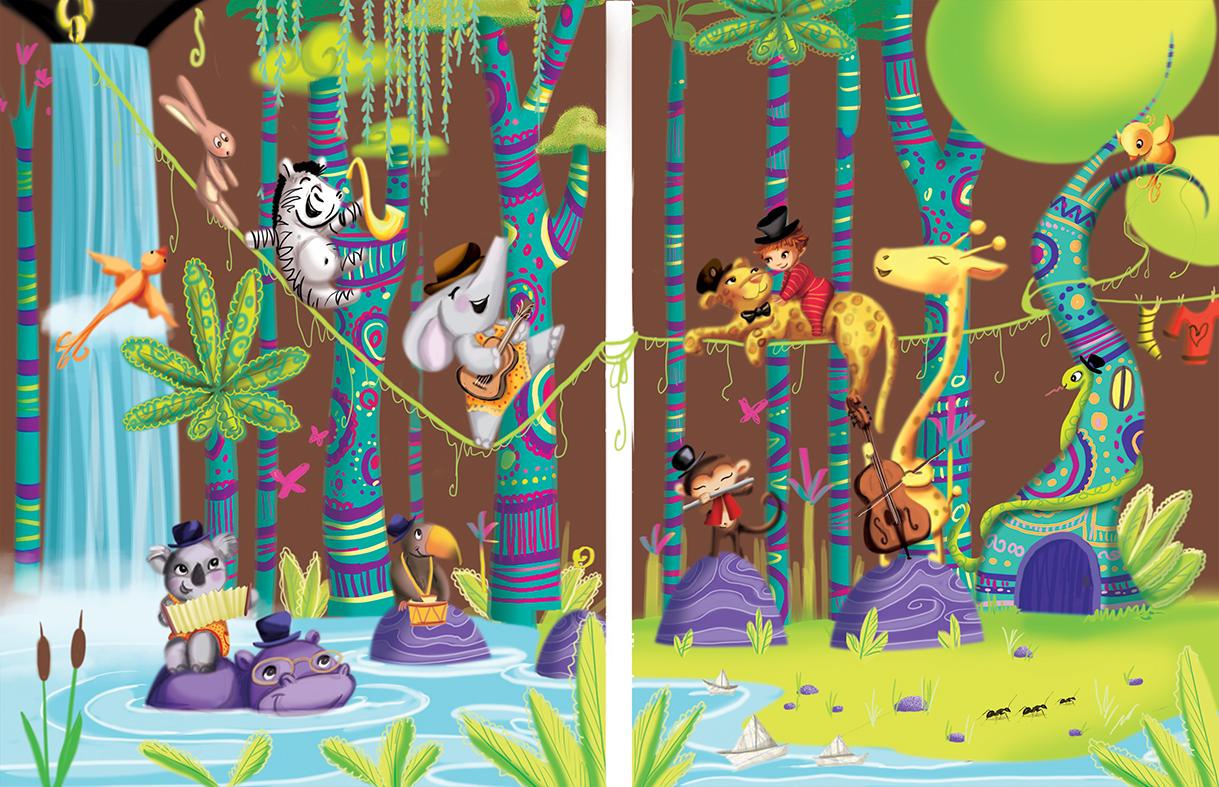 Des illustrations jeunesse, fresque murale et logo de patissière