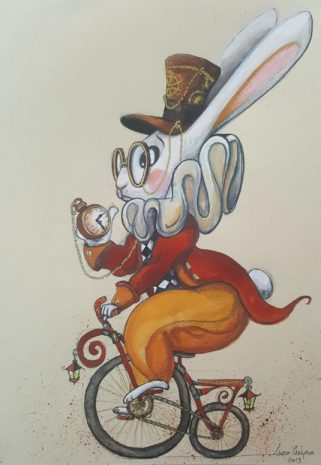 le lapin d'alice d'alice sur son vélo steampuck