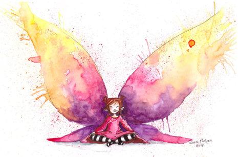aquarelle fée papillon méditation