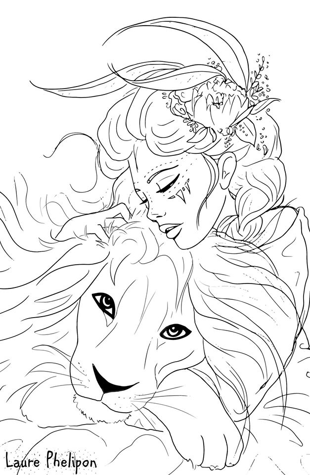 Coloriage fille et le lion de Laure Phelipon