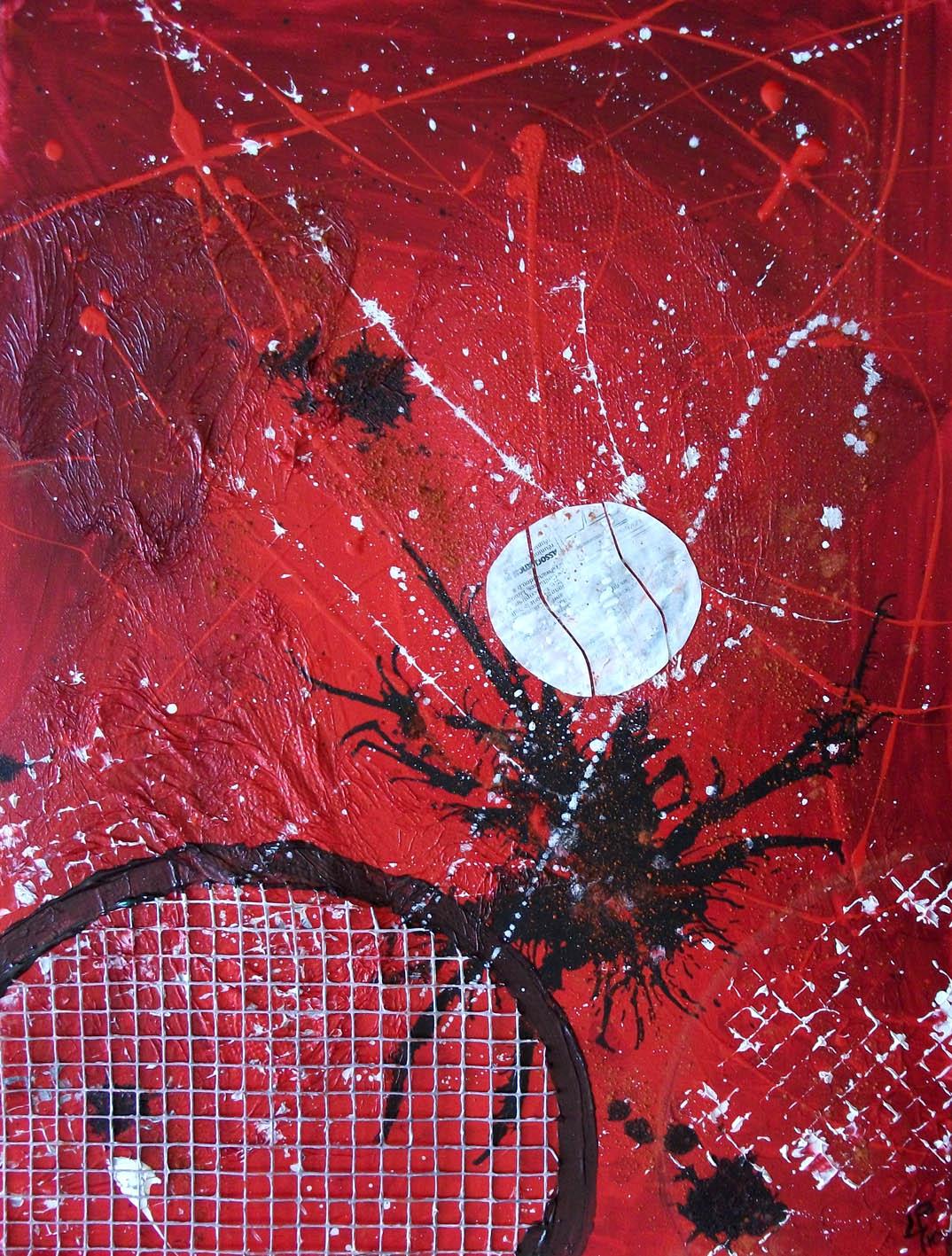 Peinture abstraite sur le tennis