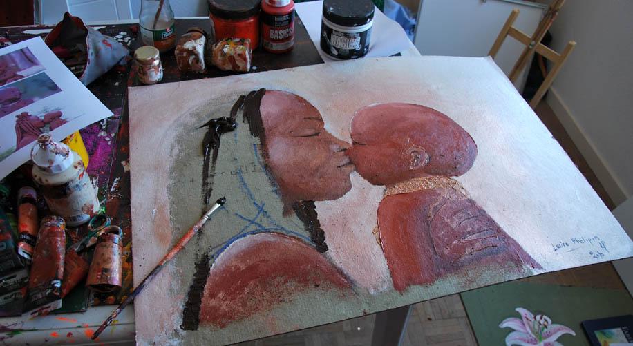 Peinture inspirée du film bébé de Thomas Balmès