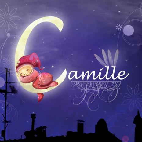 faire-part de naissance petite fille fée qui dort sur la lune