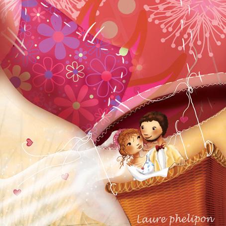 faire part de mariage, amoureux dans une montgolfière