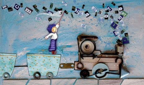 illustration train bleu