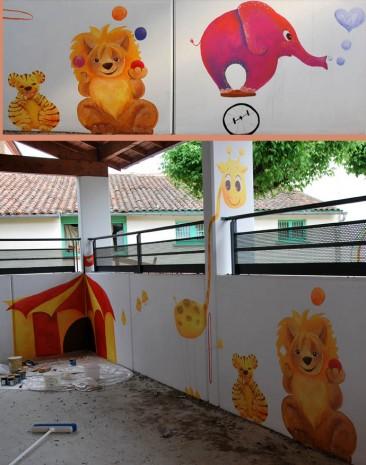 fresque ecole ville dieu lion éléphant cirque
