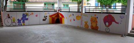 fresque les animaux font leur cirque