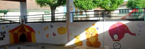 fresque  ville dieu girafe elephant tigre lion cirque