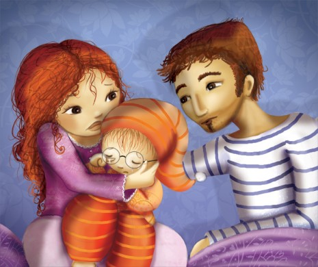 illustration enfant pleure ses parents le consolent