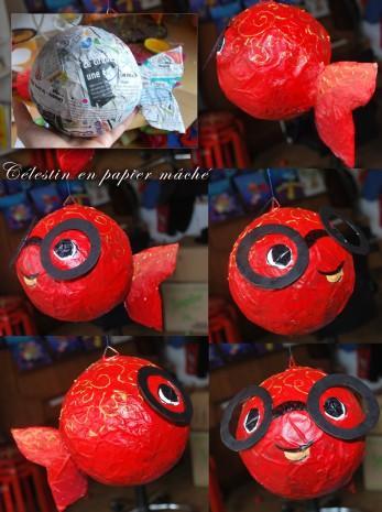 Célestin, poisson rouge en papier mâché