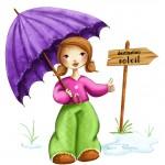 illustration fillette qui fait du stop avec un parapluie dans les mains