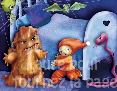 illustrations d'un garçon qui a peur des monstres sous le lit