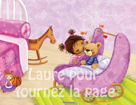illustration d'une fillette qui dit bonne nuit à son doudou