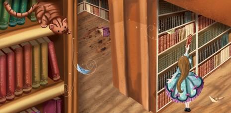 extrait de l'illustration petite princesse dans la bibliothèque du chateau