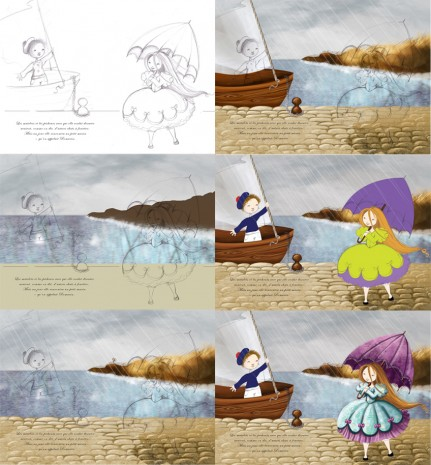 illustration d'une princesse et d'un marin step by step